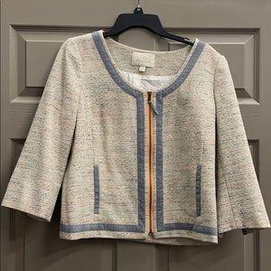 Hinge Pastel Tweed Zip Front Collarless Blazer